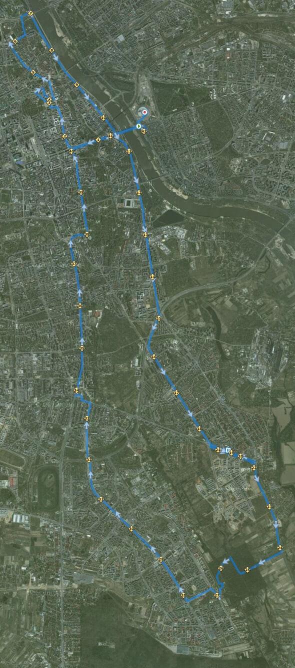 Trasa Maratonu Warszawskiego 2012 z GPS