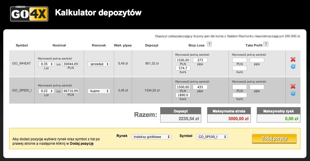 Kalkulator depozytów GO4X