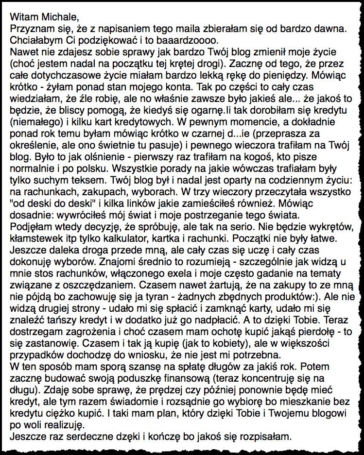Email od Czytelniczki