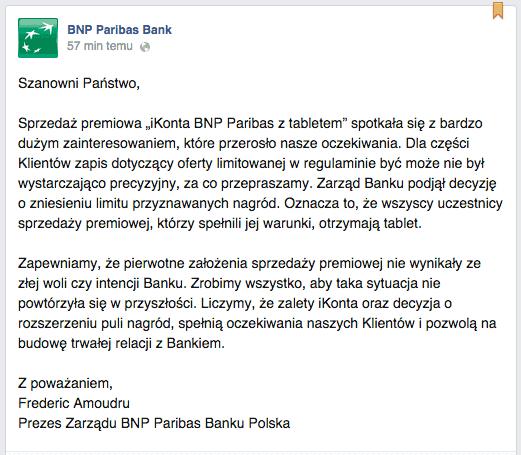 Oświadczenie BNP Paribas