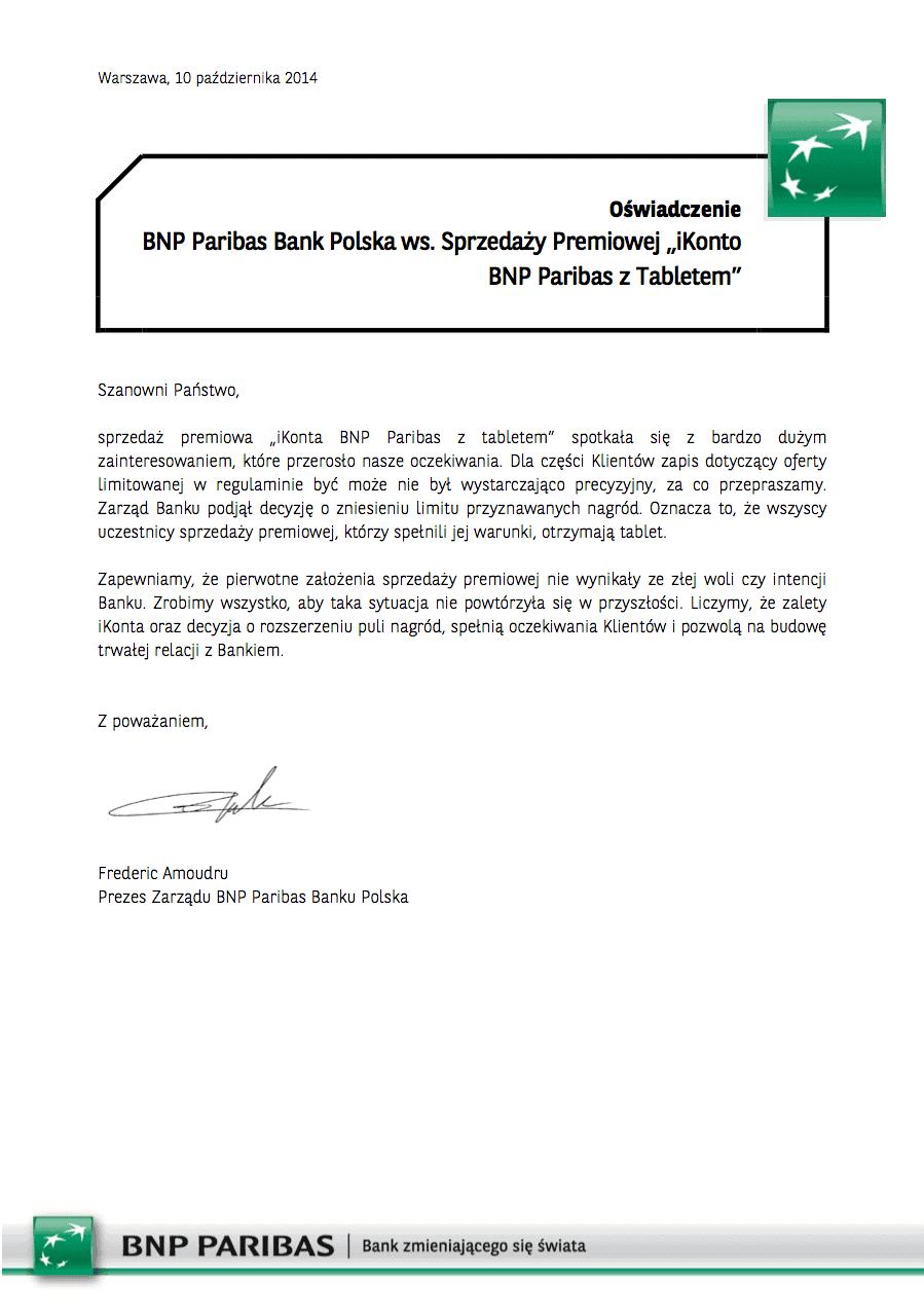 Oświadczene BNP Paribas Tablety