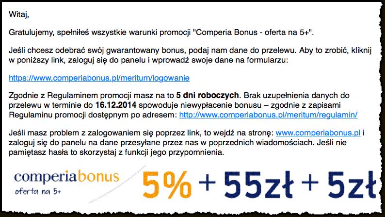 Mail od Comperia - uzupełnienie danych