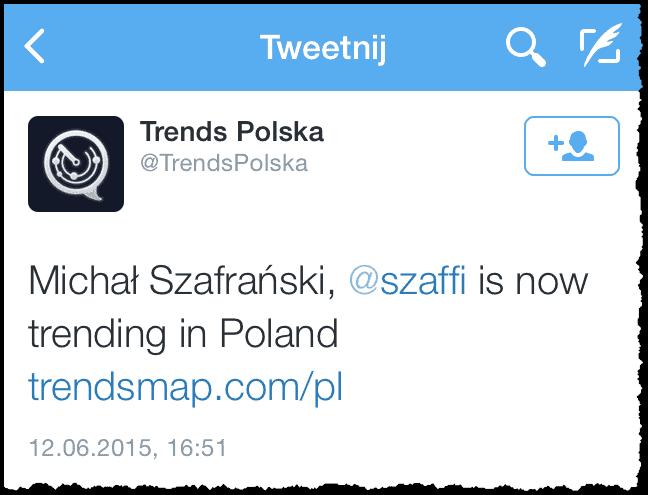 Michał Szafrański jako trend na Twitterze