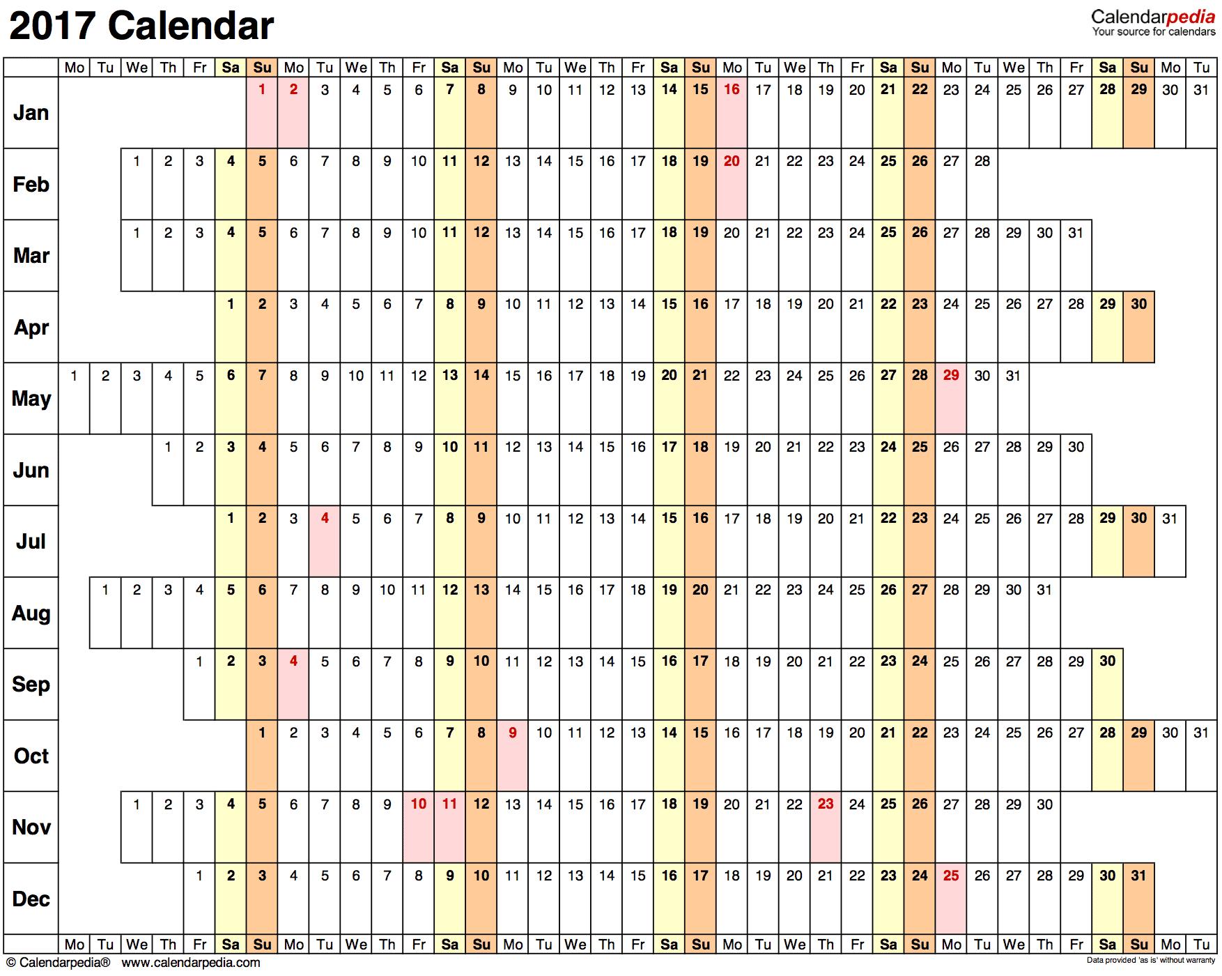 Kalender plan roczny poziomy