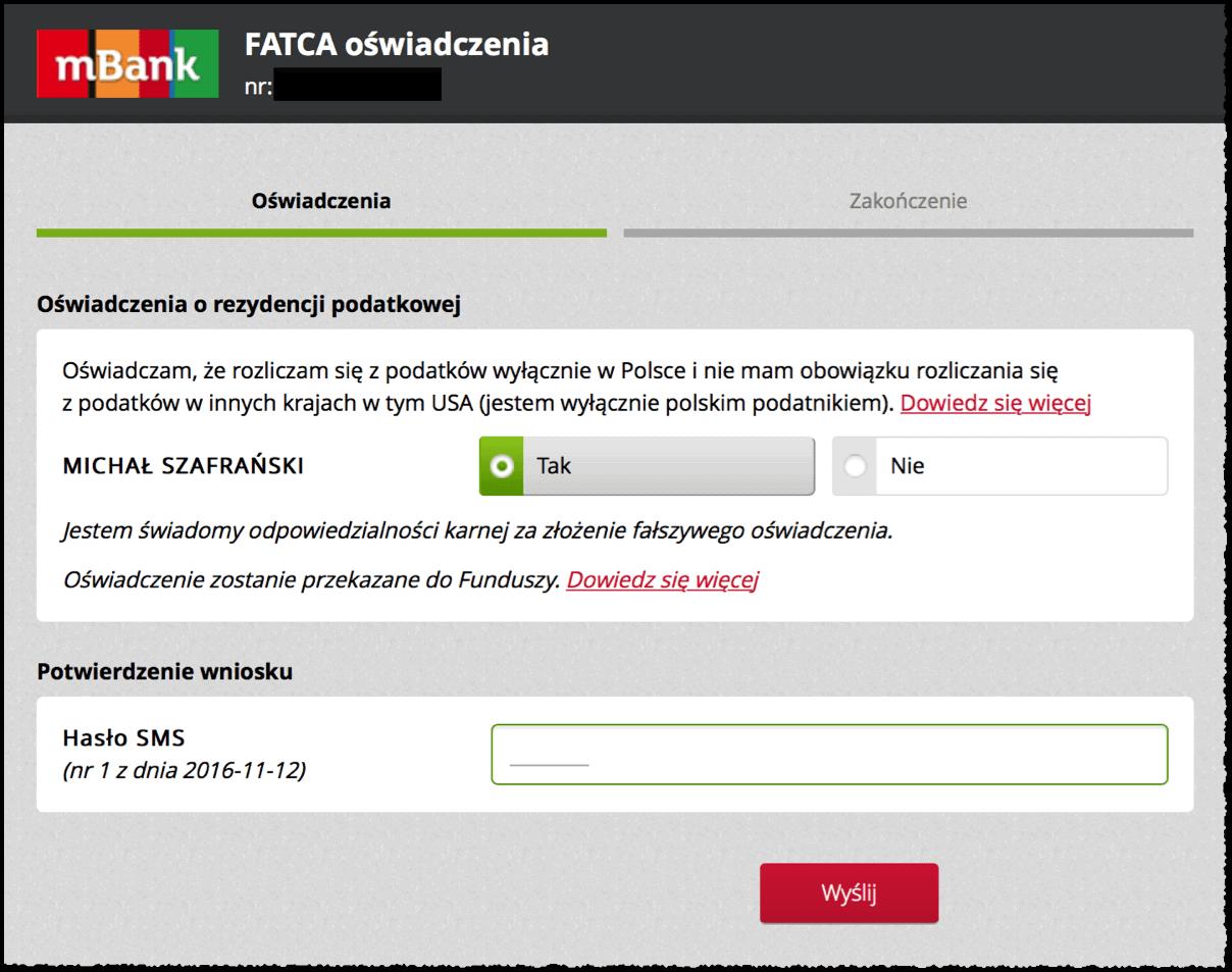 Oświadczenie FATCA mBank