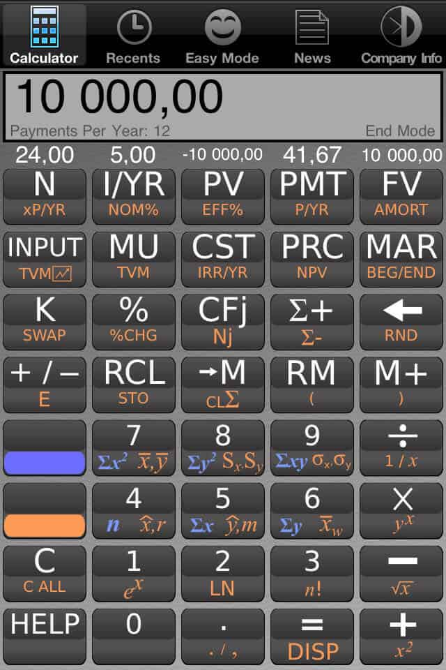 Kalkulator finansowy na iPhone