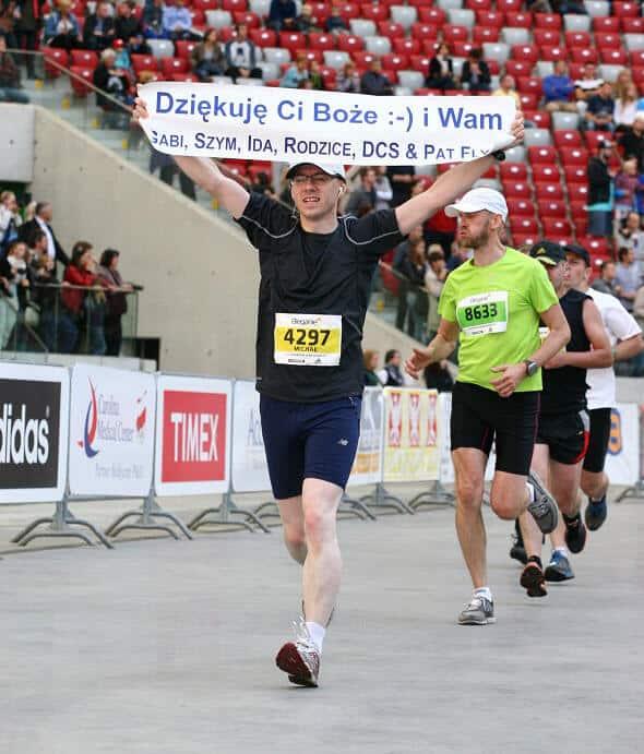 Mój finisz maratonu na Stadionie Narodowym w Warszawie