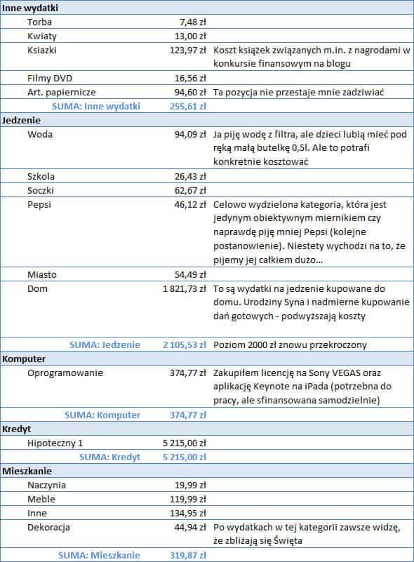 Koszty Michała w listopadzie - część 2