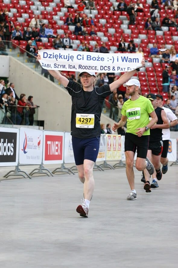 Michał na mecie maratonu