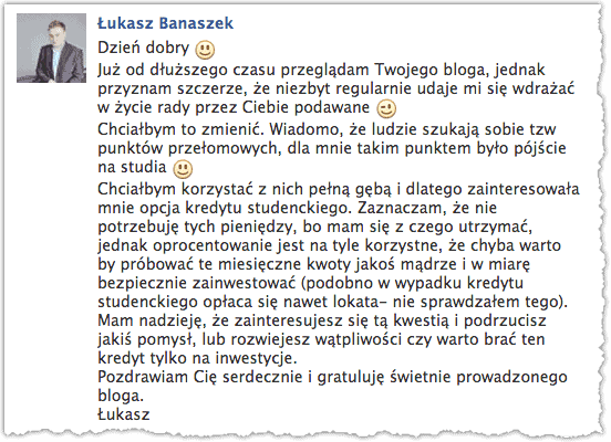 Kredyt studencki - Łukasz