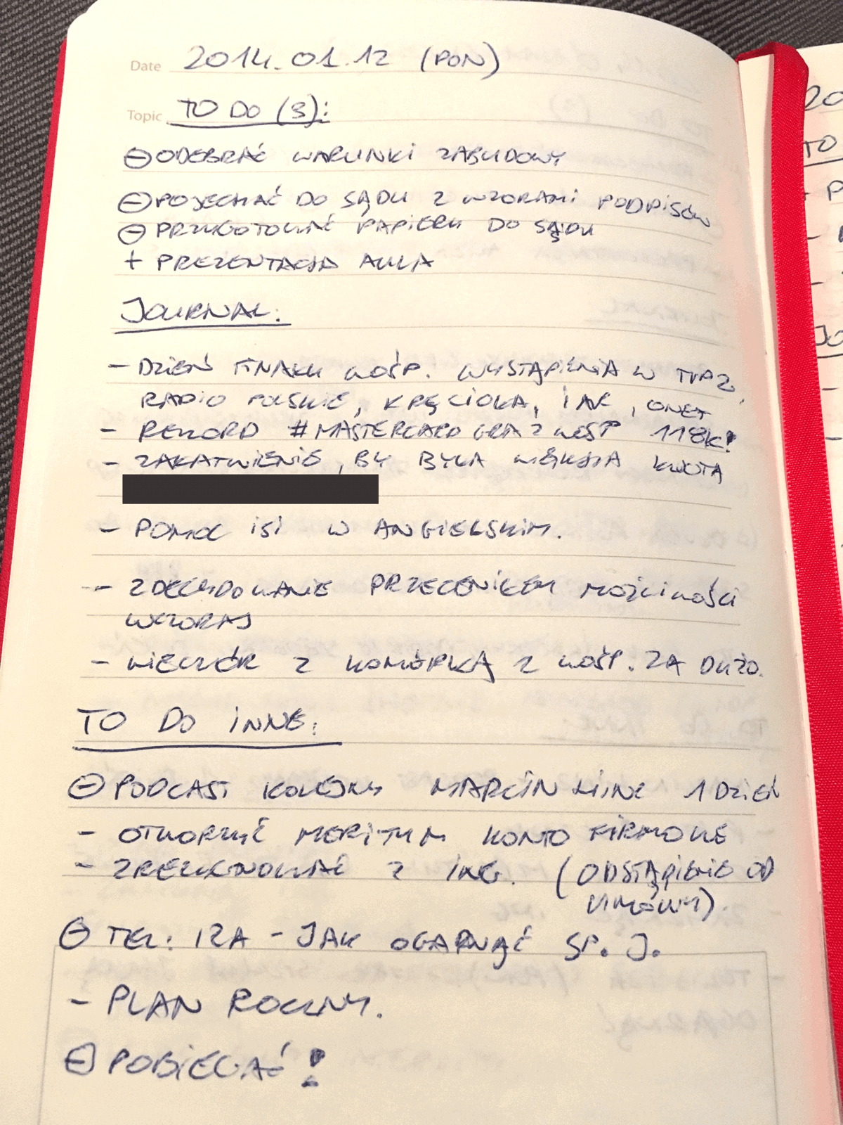 Kartka z pamiętnika