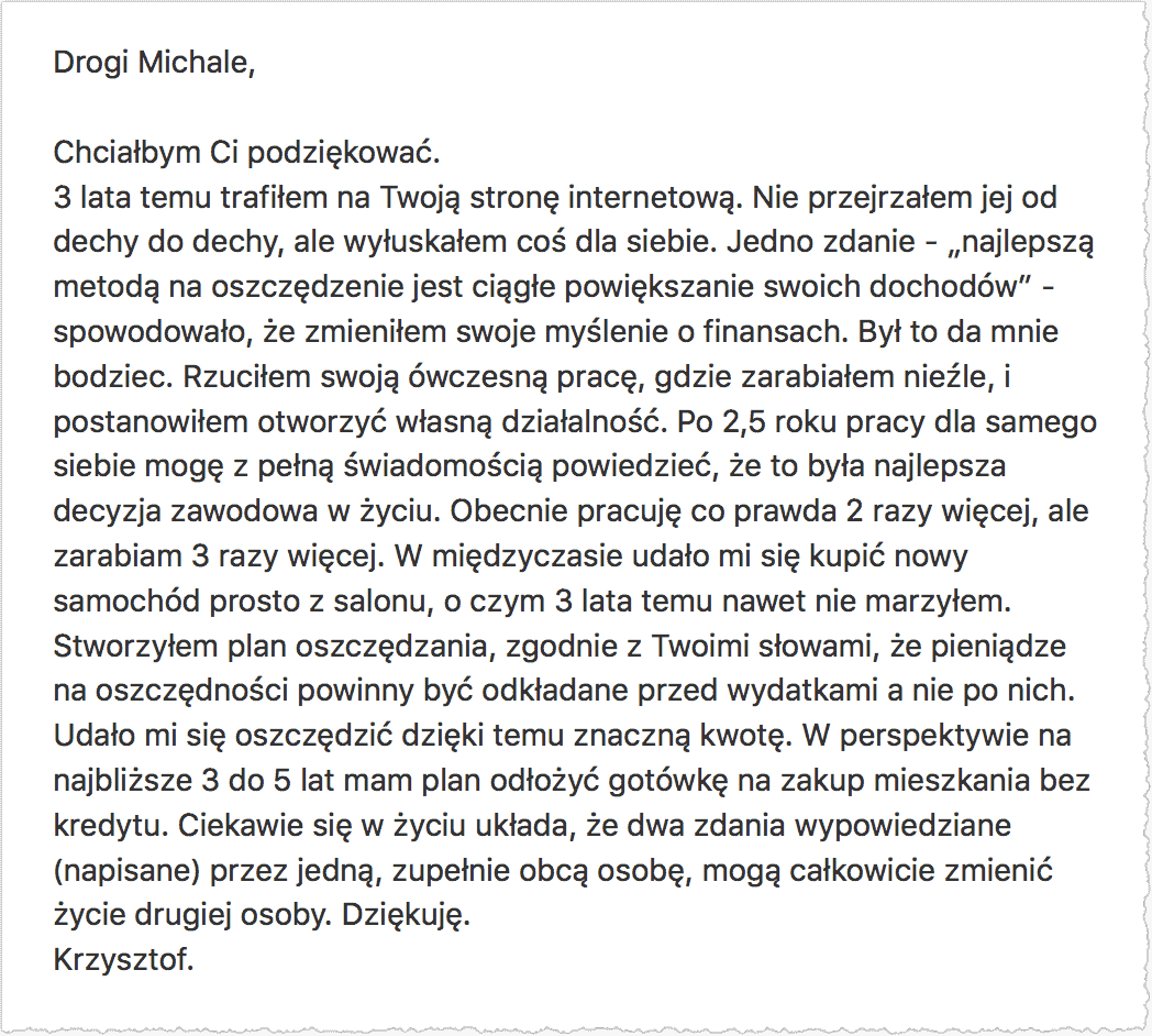 Email od Czytelnika