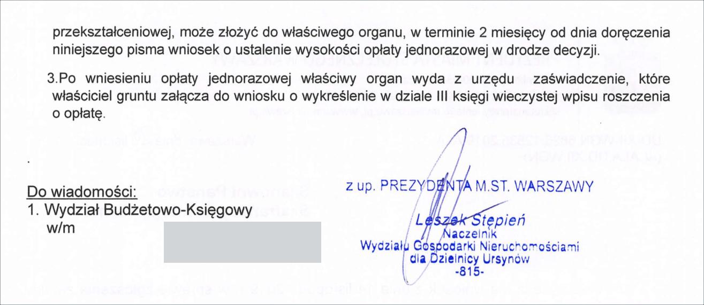 opłata przekształceniowa Warszawa