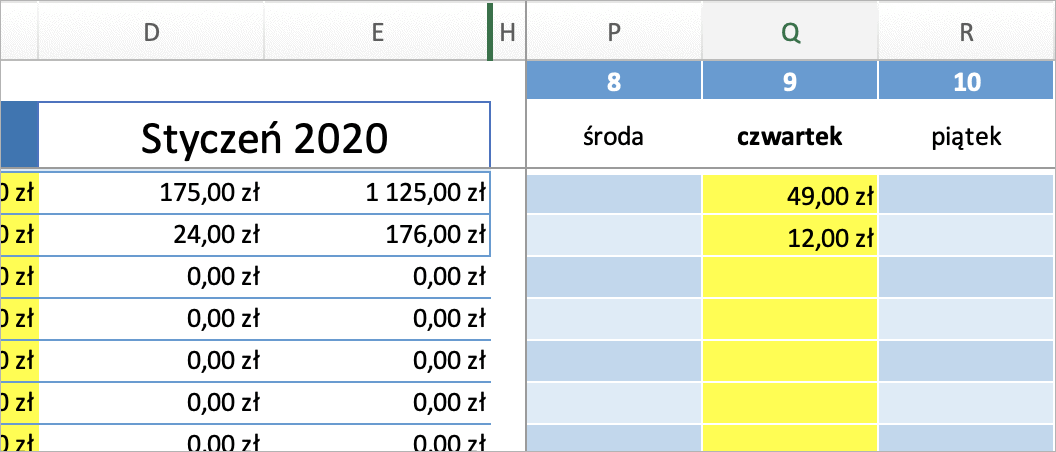 Szablon budżet domowy 2020